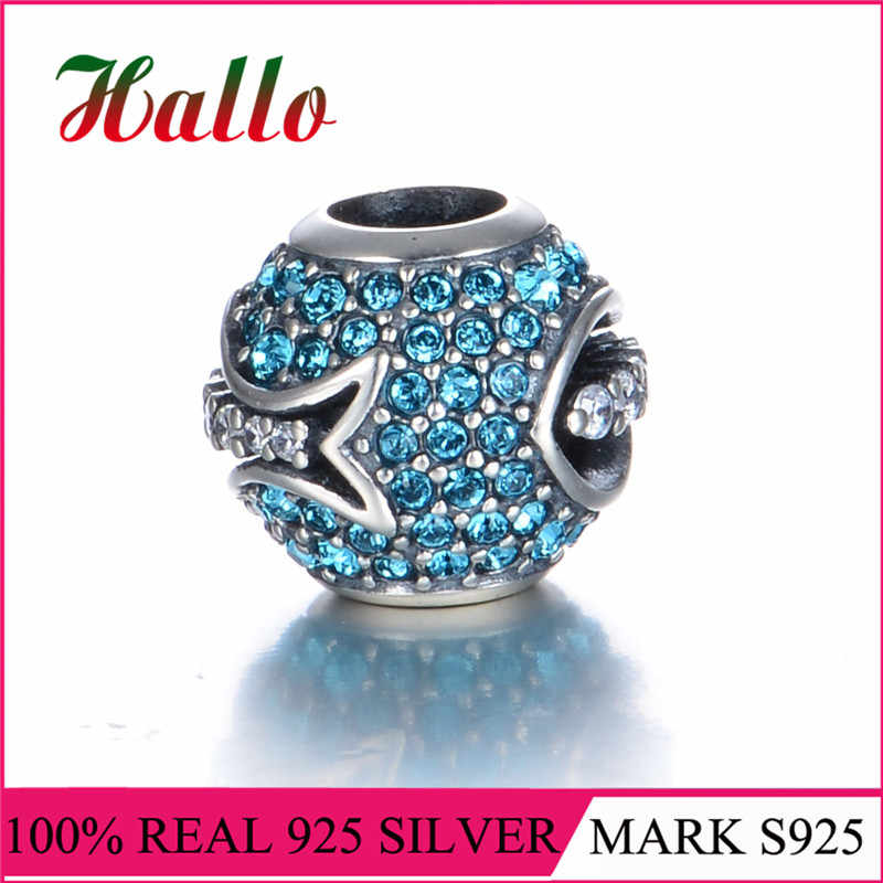 High Quality Vintage 925 Sterling Silver Pave Crystal Beads Charms Fit Original Bracelets & Necklaces DIY Accessories