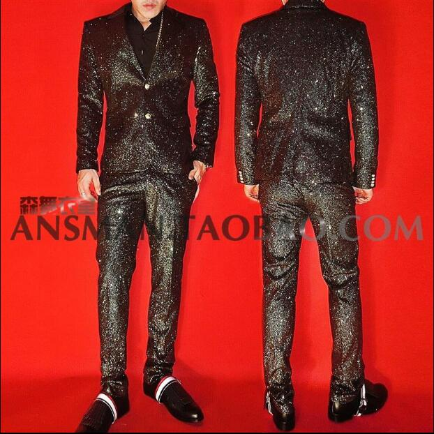 Men suit jacket  Nightclub bar male singer male model DJ super cool hot flash black gold suit costume suit S-XXL