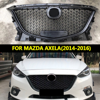 Car Accessories For Mazda 3 Axela 2014 2016 ABS Gloss Black Front Bumper Grill Upper Grille Honeycomb Cover Protector
