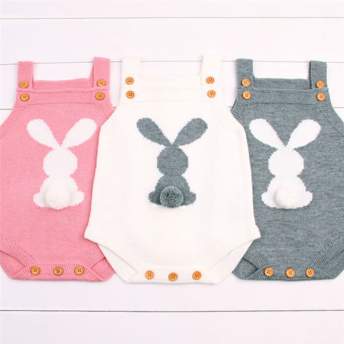 Cute Newborn Baby Boy Girls Bunny Knitting Wool Pom Pom   Romper   Jumpsuit Easter Outfits Set Sleeveless baby boy girls clothes