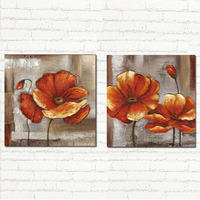 2 Piece Free Shipping Cheap abstract Modern Wall Painting red flower Home Decorative Art Picture Paint on Canvas