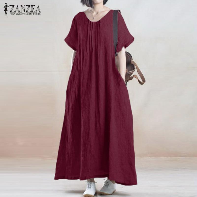 Vestido de verano 2019 ZANZEA Mujeres Vintage Casual Loose Solid - Ropa de mujer