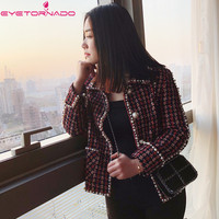 2018 Women plaid pearls beading casual work tweed jacket spring autumn pockets office business lurex basic wool jacket coat