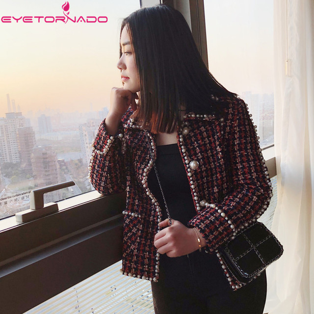 e07af8646578a 2019 Women plaid pearls beading casual work tweed jacket spring autumn  pockets office business lurex basic