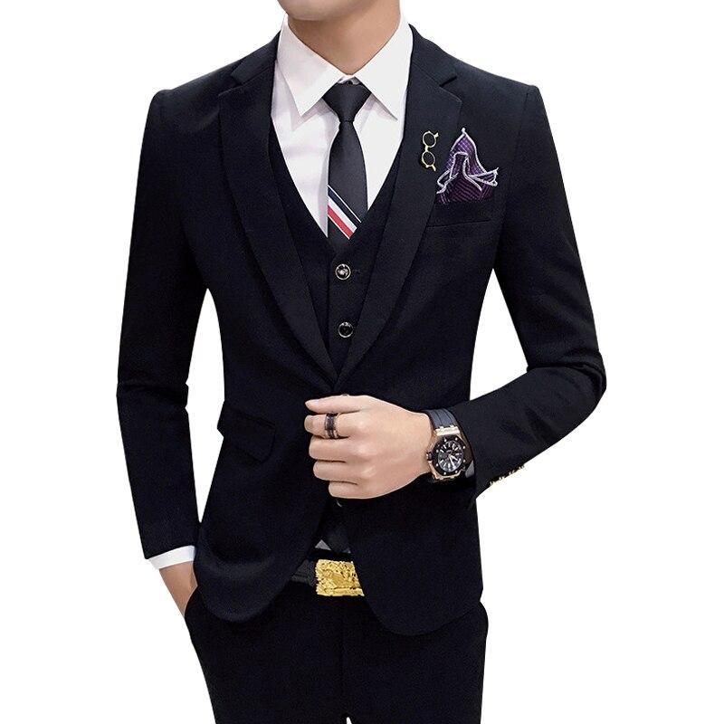 Black 7 Kind Of Colors Dress Suits Men 2019 Slim Fit Mens Blazers Pants Vest 3 Pcs Party Tuxedo Man Suits Business Costume Homme