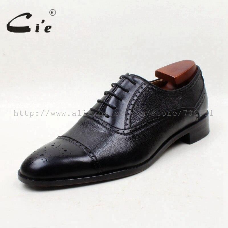 Cie/Классическая однотонная обувь из натуральной телячьей кожи с круглым носком и зернистой поверхностью; Цвет Черный; мужские оксфорды ручной работы; OX684