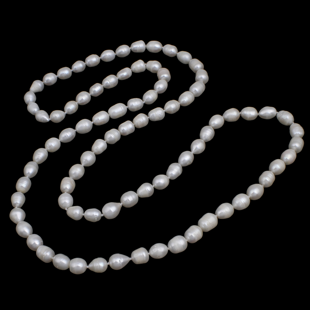 119CM Long Sweater Chain Necklace Wedding Bridal Gifts Natural Freshwater Pearl Necklace White Pearl Beaded Necklace Women Girl