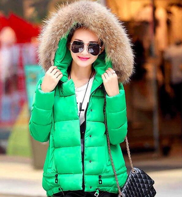 Пальто куртки Женщины Хлопок Вниз Парки С Роскошный Большой Меховой Воротник капюшоном Толстые Пальто И Пиджаки 6 Цвета 2016 Новые Зимние Плюс М-3XL