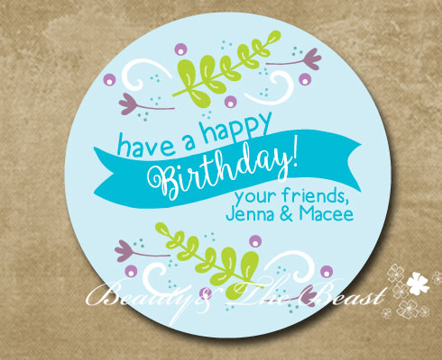 Personalized Flower Birthday Gift Sticker Party Favor Bag Labels Tags Decorations Kids Candy Box In DIY