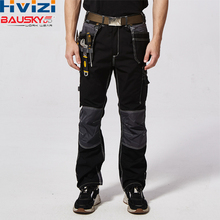 Mens Work Trousers Polyester Working Cargo Clothes Safety Workwear Pants Multi-pockets For Tools Black/Grey/Blue B128 цена и фото