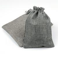 Hessian Linen Rustic Natural Burlap Bags Drawstring Jute Bag Candy Gift Christmas Wedding Favors Packaging Pouches Wedding Decor