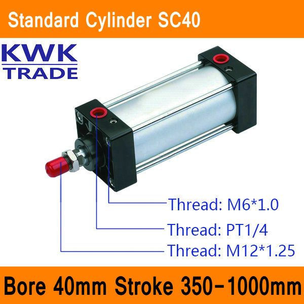SC40 Standard Air Cylinders Valve CE ISO Bore 40mm Strock 350mm to 1000mm Stroke Single Rod Double Acting Pneumatic Cylinder single acting spring return cdm2b bore 20 40mm mini pneumatic cylinder more types refer to form