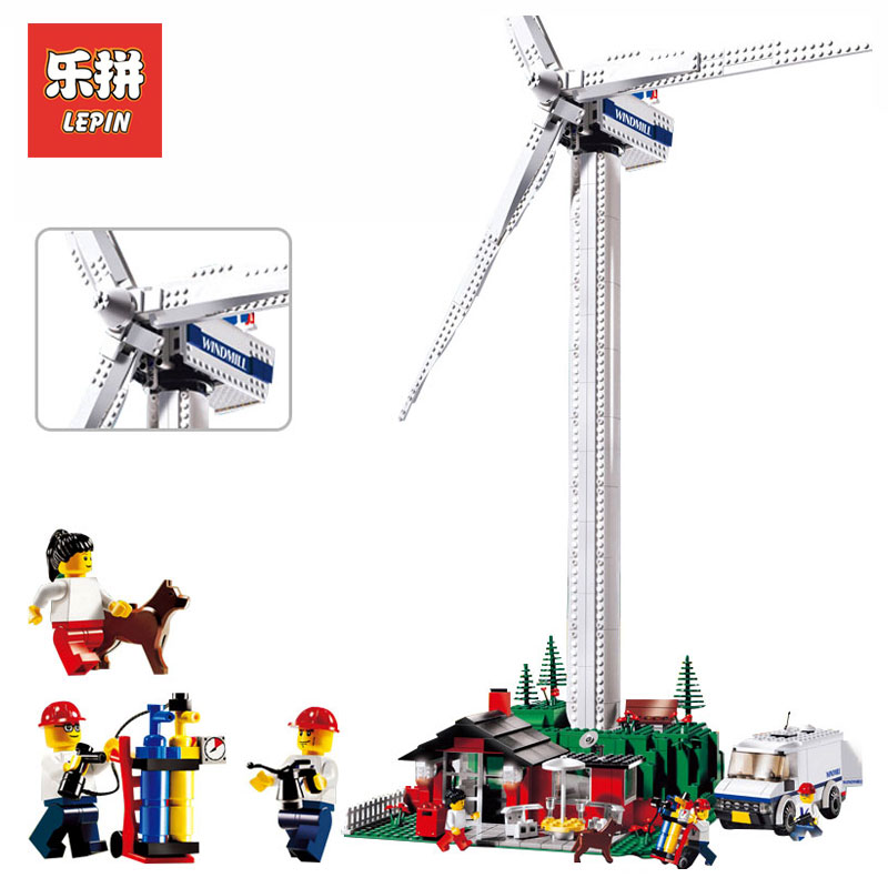 Lepin 37001 873Pcs Genuine Street Series Vestas Wind Turbine Children Model Building Blocks Bricks Toys Gifts LegoINGlys 4999 lepin 37001 creative series the vestas windmill turbine set children educational building blocks bricks toys model for gift 4999