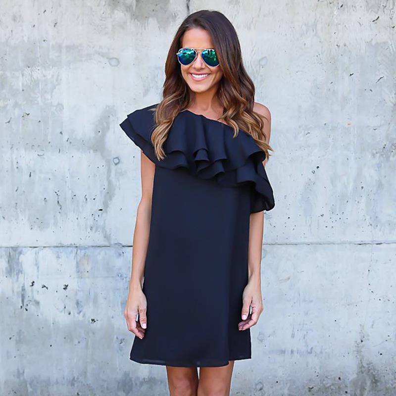 Summer Women Black Dress Sexy Off Shoulder Elegant Ruffles Party Mini Dresses Beach Dress Plus Size Women Clothing WS243X 1