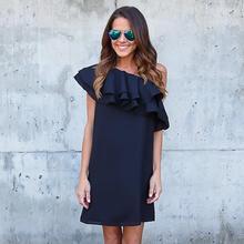 Summer Women Black Dress Sexy Off Shoulder Elegant Ruffles Party Mini Dresses Beach Dress Plus Size Women Clothing WS243X