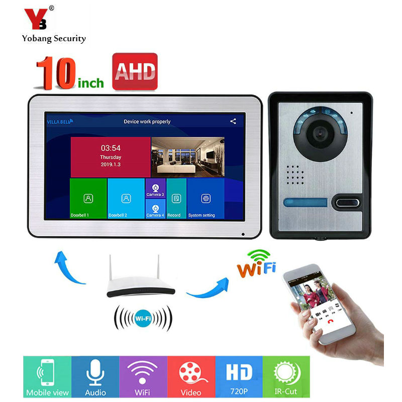 10 Inch Touch Screen WIFI Video Door Phone Intercom Video Doorbell Villa Apartment Access Control System Motion Detection