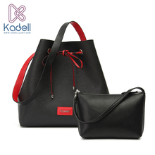 Kadell Famous Brand 2Pcs/Sets Drawstring Bucket Bag High Quality PU Leather Shoulder Bags Crossbody Women Designer Handbags