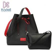 Kadell Famosa Marca 2 Unids/set Cordón Bucket Bag de Alta Calidad de Cuero de LA PU Bolsas de Hombro Crossbody de Las Mujeres Bolsos de Diseño