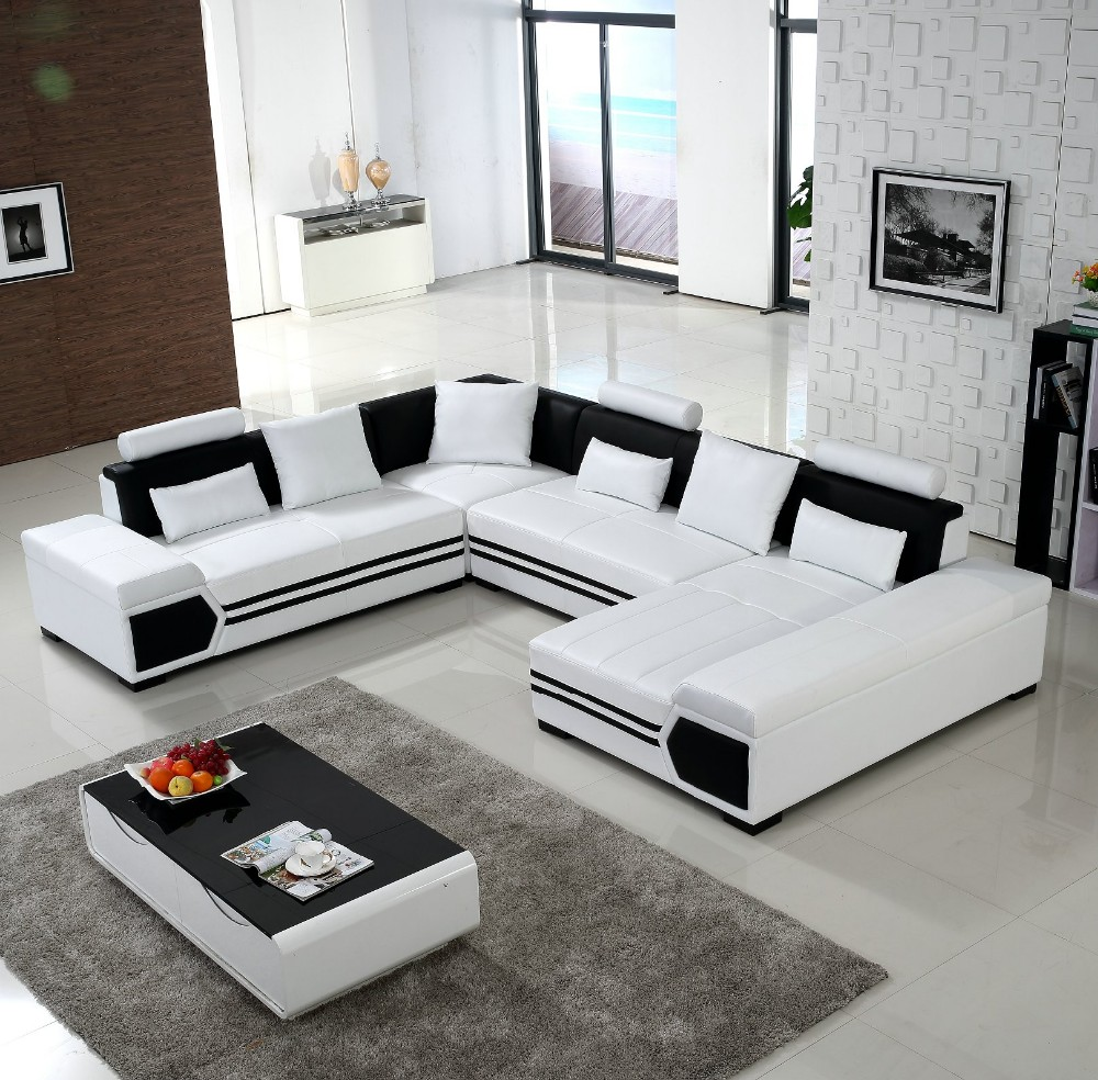 U Couch Us 1870 Large U Shaped Sofa White Leather Couch Living Room Sofa And Lounge In Living Room Sofas From Furniture On Aliexpress Alibaba Group