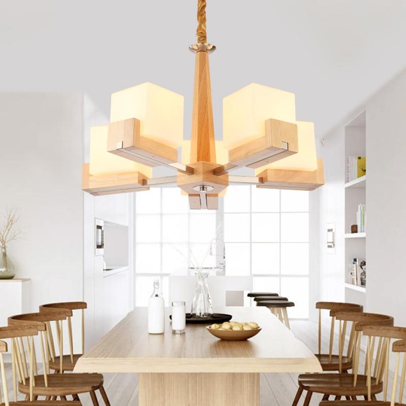 Solid wood Pendant light furniture Pastoral solid wood fashion Nordic LED restaurant glass light oak candy modern Nordic MZ1375