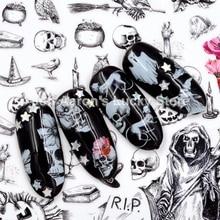 Новое поступление 1 лист Хэллоуин наклейки для ногтей наклейки с черепами для дизайна ногтей украшения поддельные ногти аксессуары инструменты для маникюра