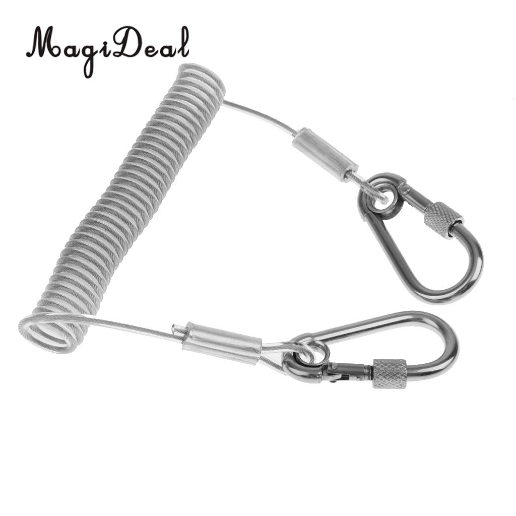 MagiDeal Durable Stainless Steel 1.6m Retractable Wire Coiled ...