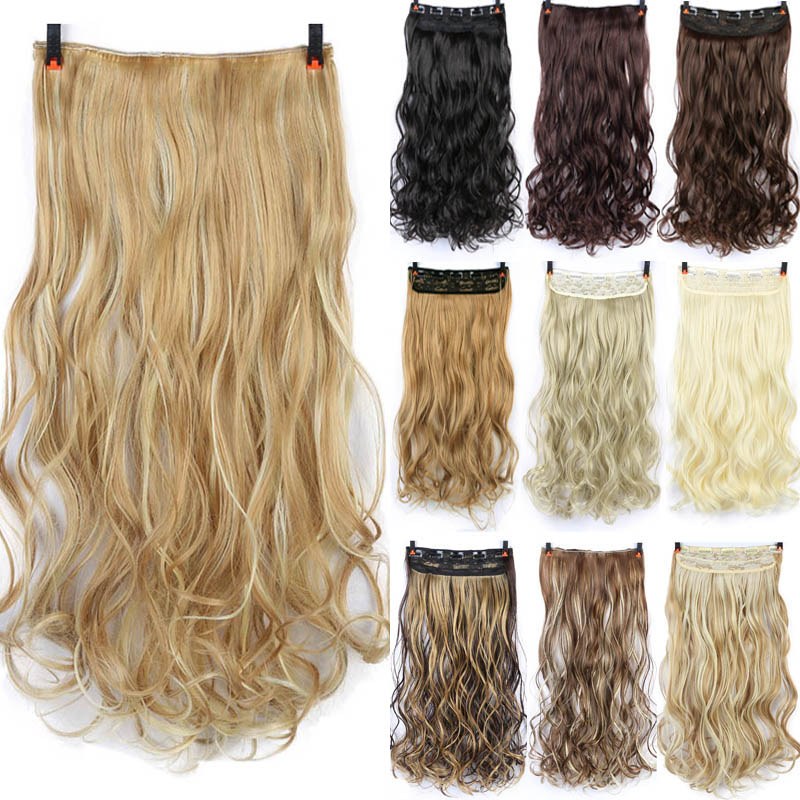 DIFEI 24'' Long Curly Women Clip In Hair Extensions Black Brown High Tempreture Synthetic Hair Piece