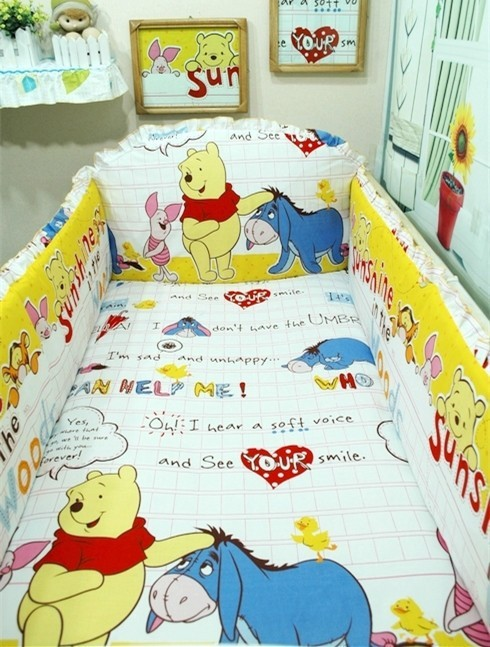 Promotion! 6pcs Winnie baby bedding set cotton curtain crib bumper baby cot sets ,include (bumpers+sheet+pillow cover) promotion 6pcs baby bedding set 100% cotton curtain crib bumper baby cot sets include bumpers sheet pillow cover