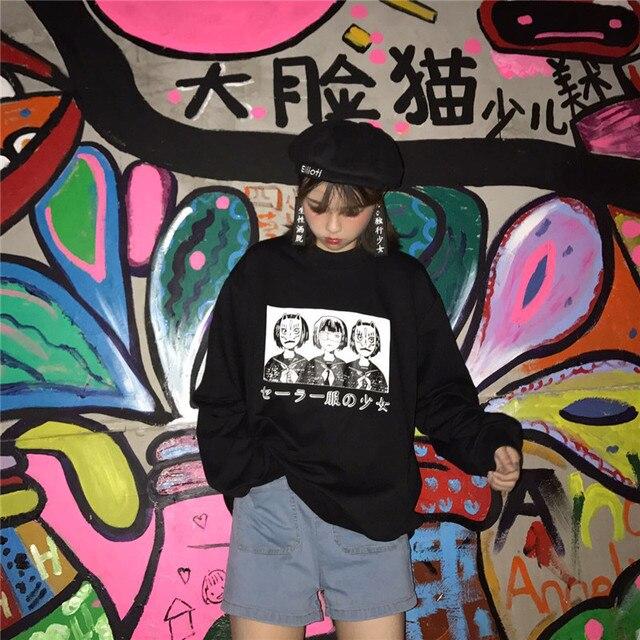 Korean Harajuku Lovely Anime Cartoon Hoodies Japanese Oversized Loose All-match Long Sleeve Female Street Fashion Sweatershirt 3