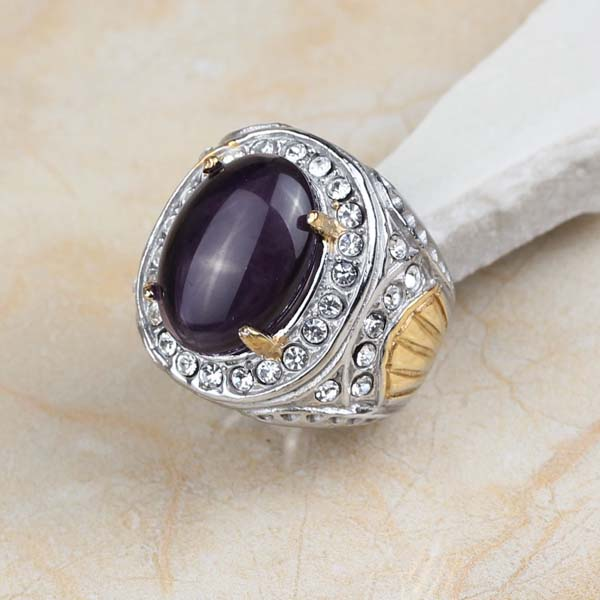 Buy men gold ring purple stone and free shipping on AliExpress