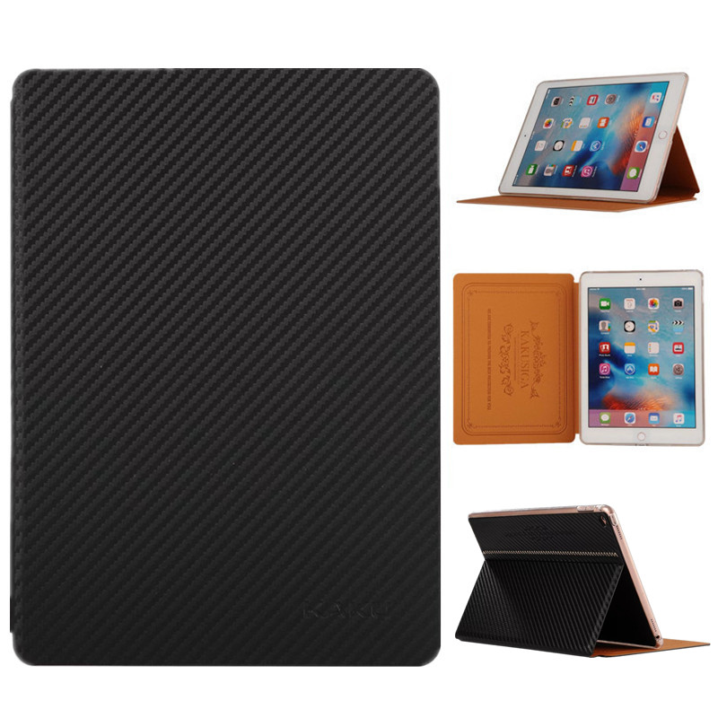 Brand Luxury Carbon Fiber Case for iPad Air 2 Flip PU Leather Smart Cover for iPad Air/Air 2 Ultra Slim Thin Tablet Stand Cases flip left and right stand pu leather case cover for blu vivo air