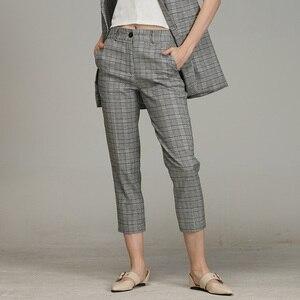 Image 4 - Bella philosophie printemps pantalon à carreaux femmes décontracté taille haute Long pantalon femme fermeture éclair bureau dame vérifier pantalons bas