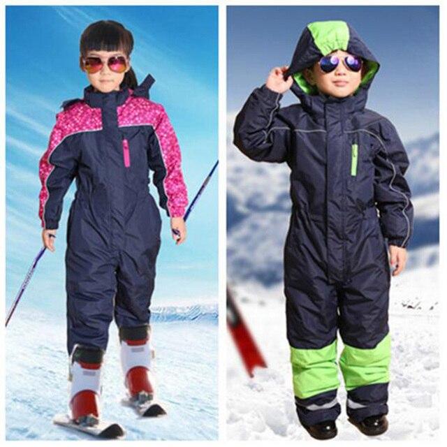 ad85cbc456 Boys girls Ski Sets one piece Waterproof Windproof Kids Ski Jacket + pants  Children Outdoor Warm
