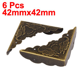 Uxcell Hot Sale 6pcs Box Case 42mmx42mm Metal Retro Style Corner Protector Guard Bronze Tone for desks, tables and cases