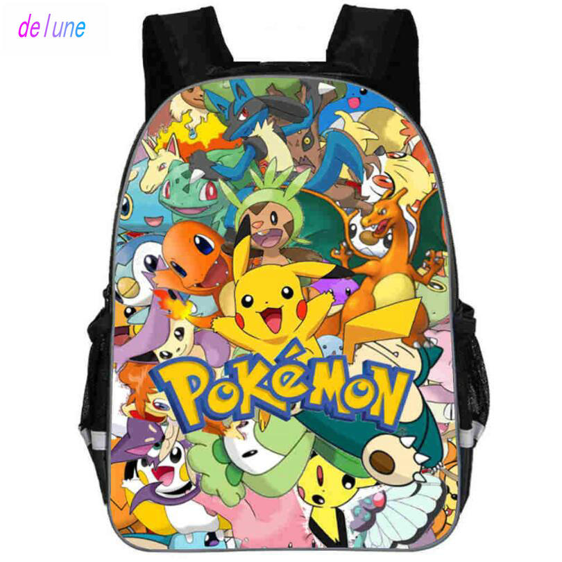 11 Inch Anime Pokemon Backpack Pocket Monster School Bag Ash Ketchum/Pikachu School Backpacks Girls Boys Toddler Kids Book Bags