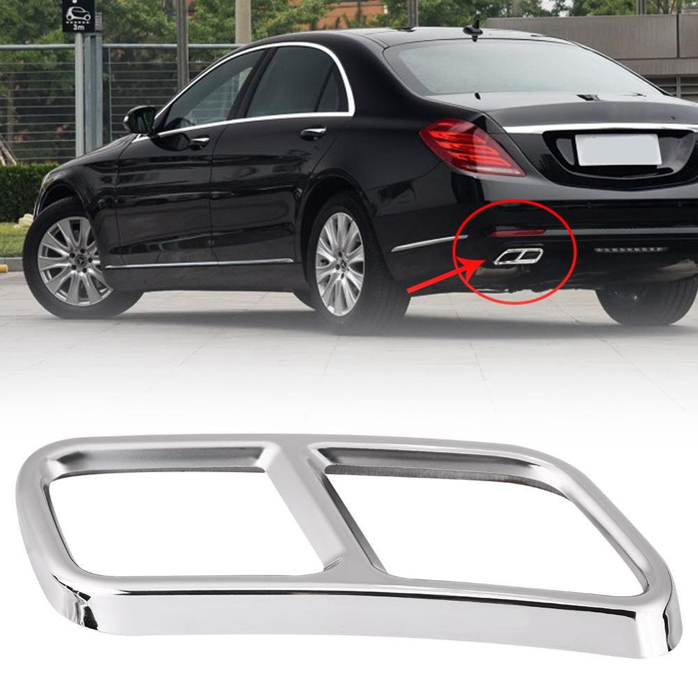 1 Pair Rear Dual Exhaust End Pipe Tip Sticker Cover Trim For Mercedes Benz GL X166 13-15 S R Class W222 W251 10-17 Silver New