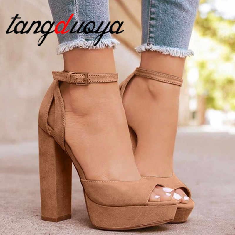 minorista online d7ee0 309e3 Zapatos de plataforma 2019 para mujer zapatos de tacón alto negro para  fiesta zapatos de verano sexis con punta abierta Sandalias de tacón de  talla ...