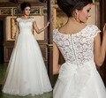 Elegante Blanco Una Línea Vestidos de Boda Apliques Volver Cordón Grande arco Vestidos de Novia Vestido De Novia de Tul de Novia de Manga Corta vestido
