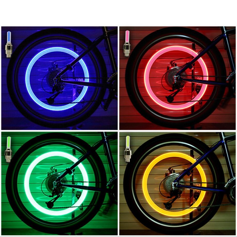 цена на Bike Accessories Bicycle Light Colorful LED Bike light Car Tyre Cycling bycicle Wheel Valve Caps Spokes lights