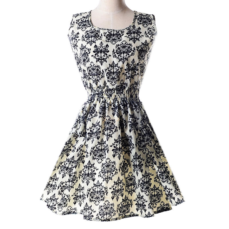 2017 NEW Lady's Sleeveless O-neck Flower Printed Casual Mini Dress--White with blue-and-white porcelain Asian/US Size
