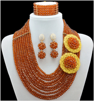 Brown Color African Beads Jewelry Sets Nigerian Wedding African Crystal Beads Jewelry Set