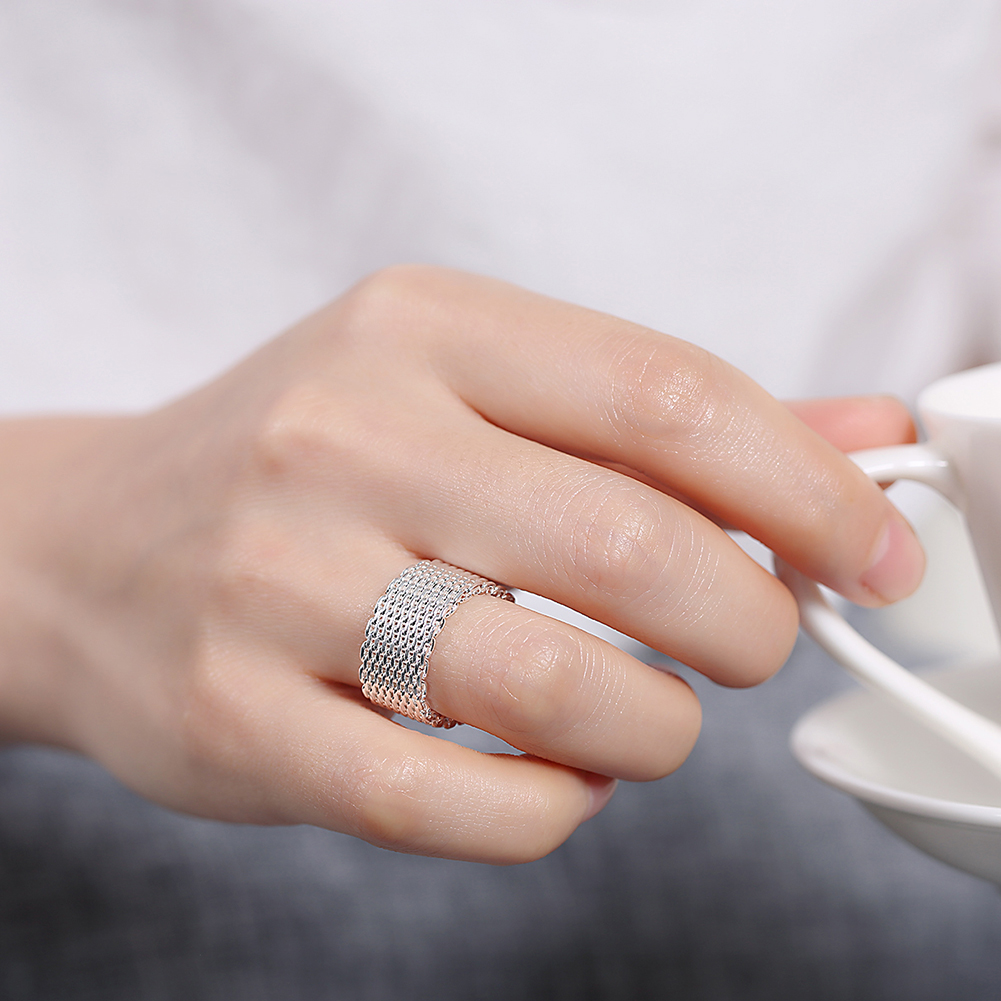 Big Size 6 10 Round Wedding Rings For women Wide Silver Color ...