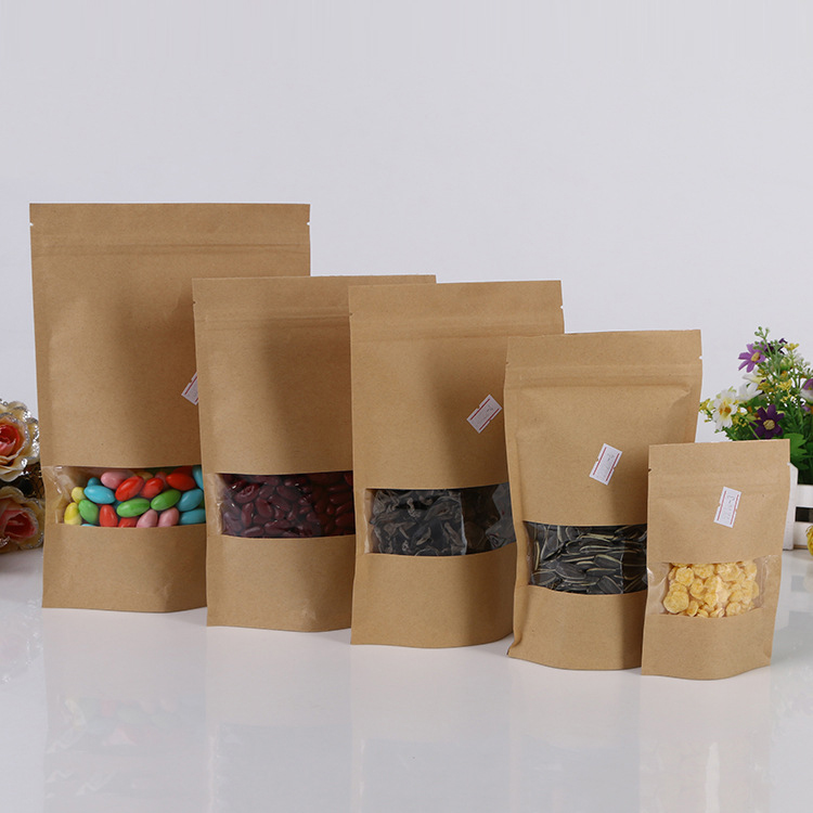 100pcs Lot Brown Kraft Paper Bag With Window Stand Up Zipper Zip Lock Jewelry Packaging Bags For Gifts Tea Christmas