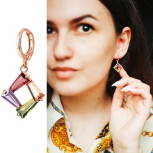 Olsen Twins Multicolor Cubic Zirconia Rose Gold Geometric Star Earrings Necklace Female Cute Small Oorbellen Jewellery