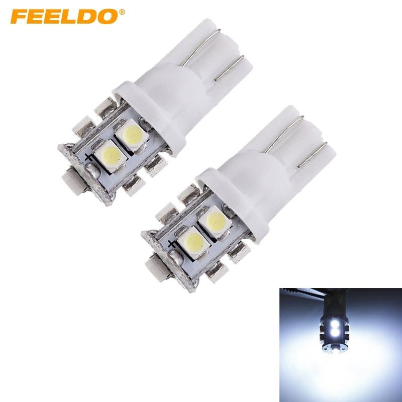 4Pcs White T10 194 W5W 1206 Chip 10 SMD 10 LED Wedge Car LED Side Light Bulb Lamp Reading Light DC12V #FD-1454 car t10 68smd led 1206 3020 w5w 194 927 161 side wedge light lamp bulb for license plate lights ea10680