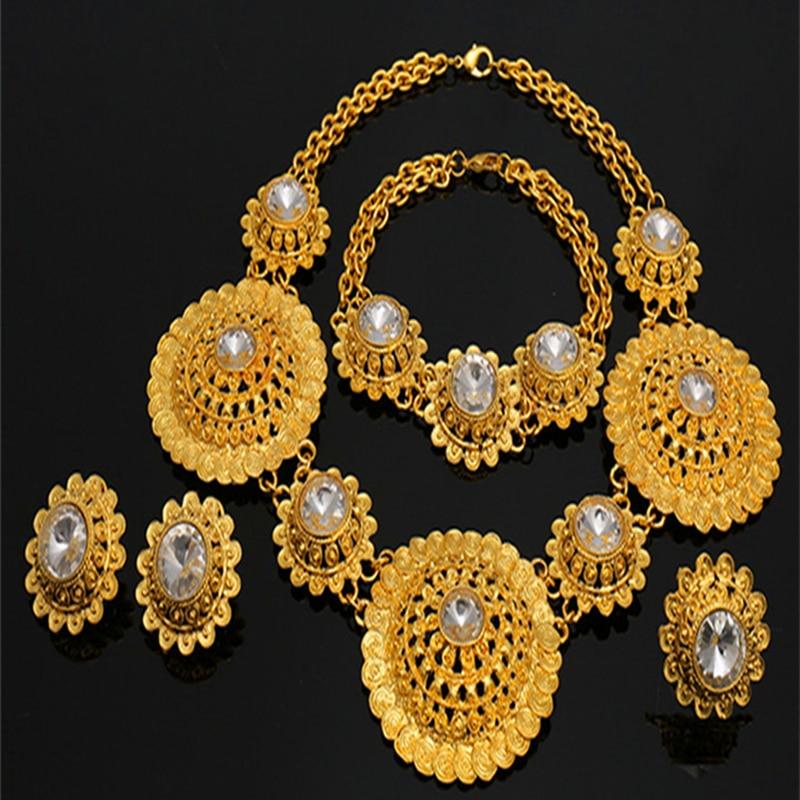 Flower Boom Women Nigerian Bridal Naija Bride Imitate Cubic Zirconia Necklace Dubai 4PCS Jewelry Set Jewellery Addiction