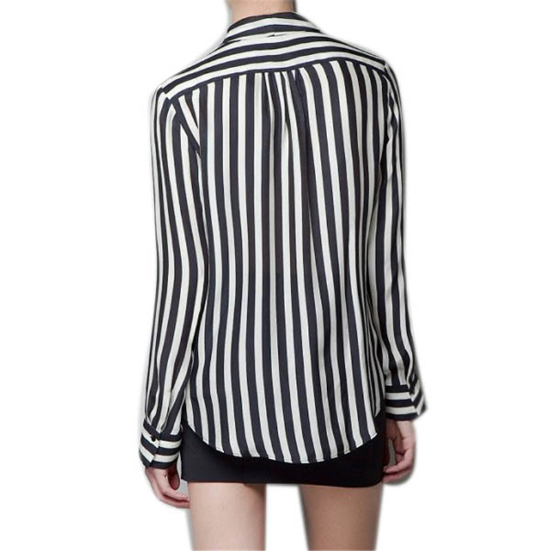 859b8d5f648ad Hot White Blouse New Formal Women Long Sleeve Chiffon Button Striped Lapel  Tops Shirts Sized S M L Y12-in Blouses   Shirts from Women s Clothing on ...