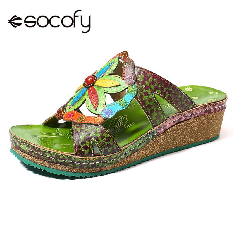 SOCOFY Vintage Genuine Shoes Leather Splicing Hand painted Floral Stitching Comfortable Daily Sandals Comfortable Summer ShoesSOCOFY Vintage Genuine Shoes Leather Splicing Hand painted Floral Stitching Comfortable Daily Sandals Comfortable Summer Shoes