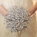 Venta caliente 2016 Elegante vestido de Novia a Medida YIYI Ramo Con Perla de Cuentas Broche de la Boda Romántica de La Novia Colorida's Ramo WD003