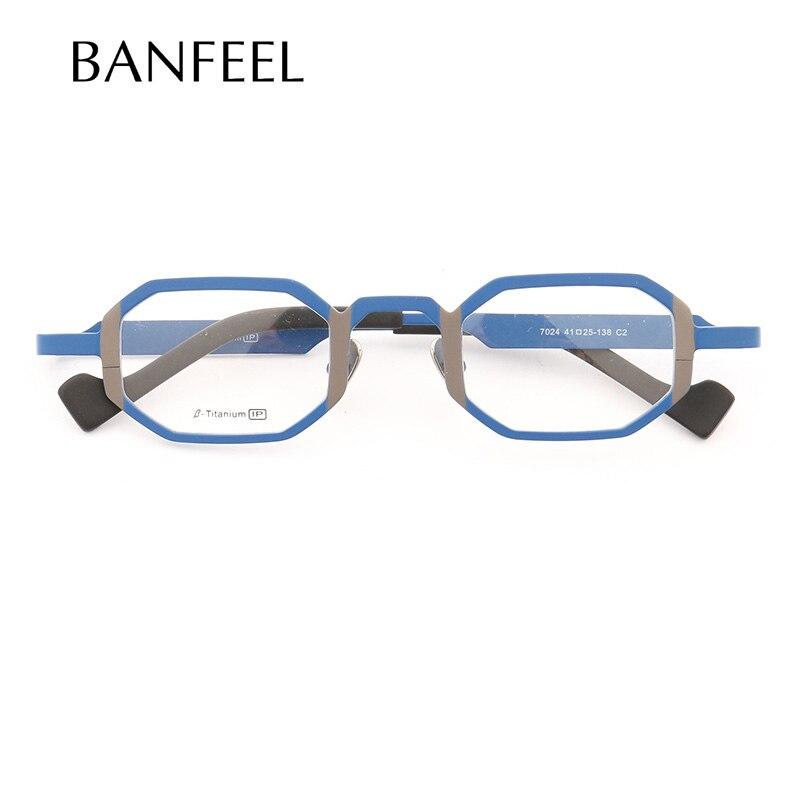 MUZZ Super light Pure titanium frames eyeglasses men Optical small geometric full rim Frame myopia Prescription